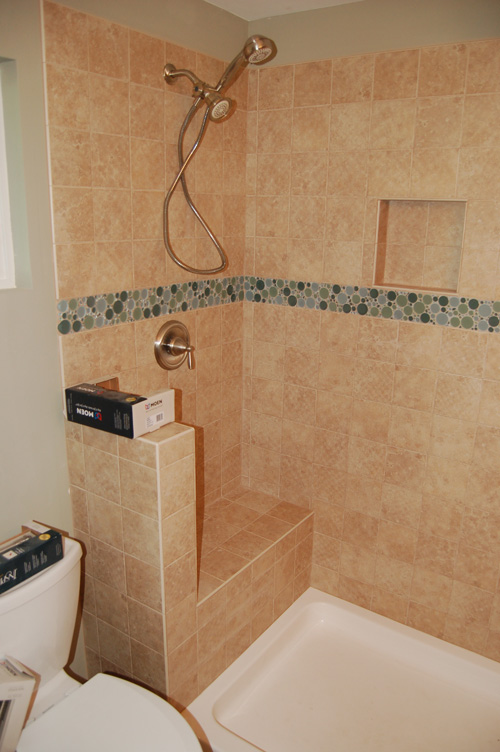 Bronze Tiled Bathroom Shower