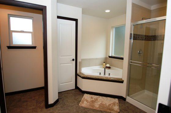 Brown Wood & Tiled Master Bathroom