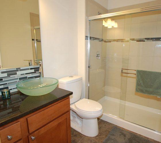 White & Blue Tiled Bathroom